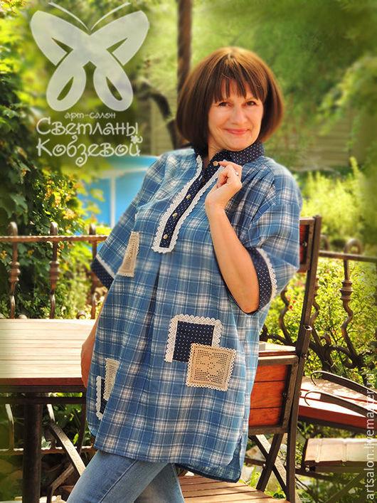 """Блузки ручной работы. Ярмарка Мастеров - ручная работа. Купить Рубаха  авторская """"Студентка Нина"""" -2. Handmade. Голубой"""