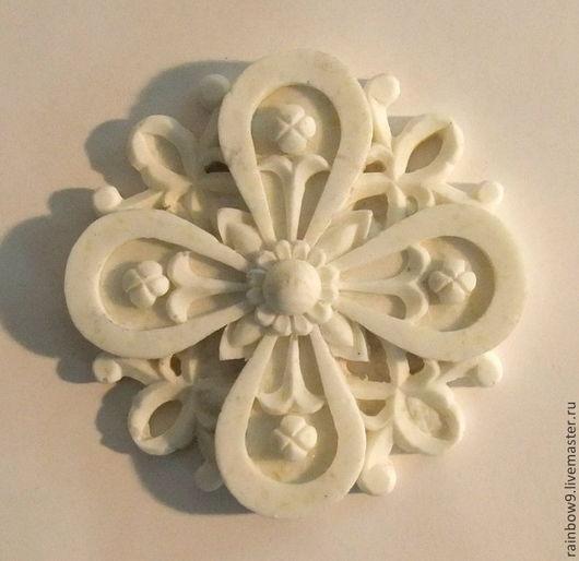 Мебельный резной декор Розетка, декоративный элемент из пластика, заготовки для декупажа. Накладка розетка круглая для декора мебели и интерьера, фурнитура для мебели, дверей, комодов.