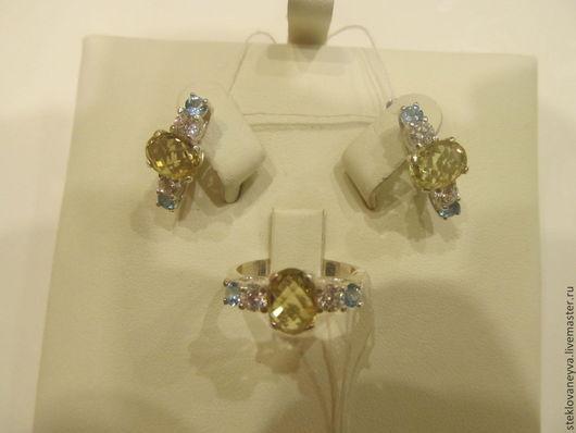 Комплекты украшений ручной работы. Ярмарка Мастеров - ручная работа. Купить Комплект с лимонным цитрином, голубым и белым топазами в серебре. Handmade.