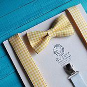 Аксессуары handmade. Livemaster - original item Suspenders tie Provence yellow / butterfly tie, suspenders. Handmade.