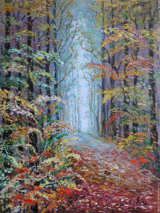 Пейзаж ручной работы. Ярмарка Мастеров - ручная работа. Купить Картина маслом Осень золотая. Handmade. Комбинированный, Осенний лес