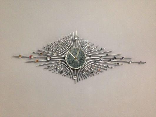 """Часы для дома ручной работы. Ярмарка Мастеров - ручная работа. Купить Настенные часы """"Северное сияние"""". Handmade. Настенные часы"""