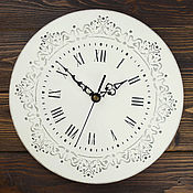 Для дома и интерьера handmade. Livemaster - original item White Baroque wall clock with pattern. Handmade.