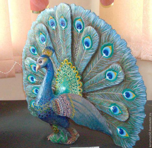 Элементы интерьера ручной работы. Ярмарка Мастеров - ручная работа. Купить Красавец павлин. Handmade. Синий, прекрасный подарок, для камина