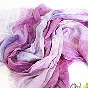 Аксессуары handmade. Livemaster - original item Silk scarf Shades lilac batik. Handmade.
