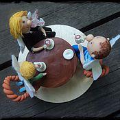 """Для дома и интерьера ручной работы. Ярмарка Мастеров - ручная работа Фигурки """"Семейство за столом"""". Handmade."""