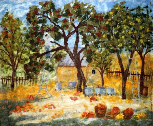 """Пейзаж ручной работы. Ярмарка Мастеров - ручная работа. Купить Картина войлочная """"Золотая осень"""". Handmade. Разноцветный, картина из шерсти"""