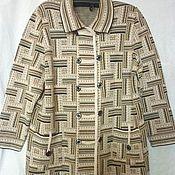 Одежда ручной работы. Ярмарка Мастеров - ручная работа Полупальто вязаное Полоски большой размер. Handmade.