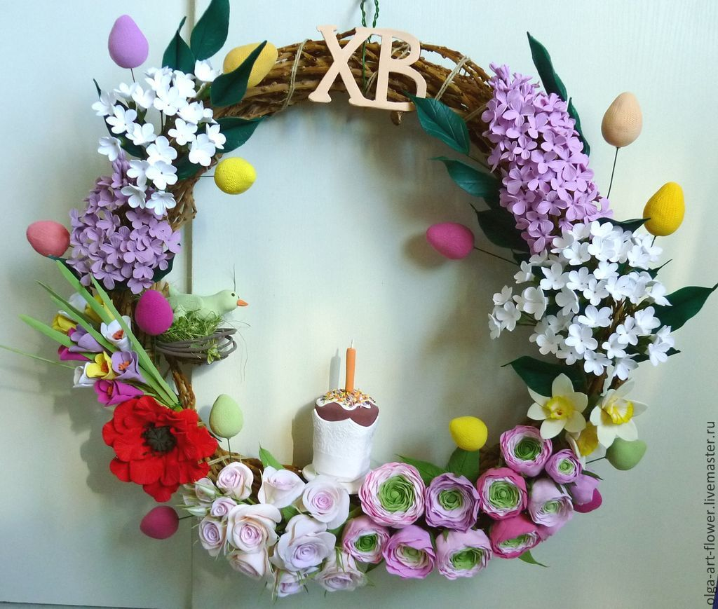 Florist Arrangements handmade. Livemaster - handmade. Buy Wreath Easter D 50cm. Flowers polymer clay handmade.Rose, colorful