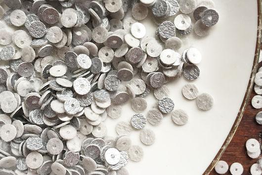 Вышивка ручной работы. Ярмарка Мастеров - ручная работа. Купить Пайетки, 5 мм, плоские пайетки, круглые пайетки, серебро. Handmade.