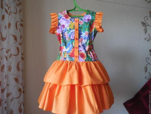 Одежда для девочек, ручной работы. Ярмарка Мастеров - ручная работа. Купить Рост 116.Платье  детское летнее комбинированное оранжевое.. Handmade.
