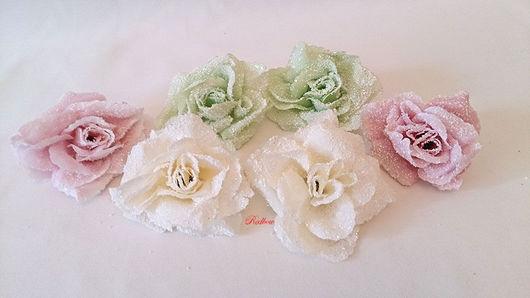 Материалы для флористики ручной работы. Ярмарка Мастеров - ручная работа. Купить Розы в инее Г32. Handmade. Роза из ткани