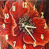 """Для дома и интерьера ручной работы. Ярмарка Мастеров - ручная работа Часы настенные """"Маки"""" в гостиную большие квадратные. Handmade."""