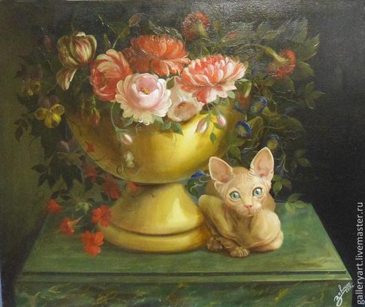 """Натюрморт ручной работы. Ярмарка Мастеров - ручная работа. Купить Картина """"Кошка и букет"""" (натюрморт, сфинкс). Handmade."""