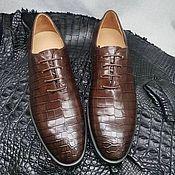 handmade. Livemaster - original item Oxfords made of genuine crocodile leather, in brown color!. Handmade.