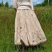"""Одежда ручной работы. Ярмарка Мастеров - ручная работа Юбочка в стиле бохо """"Цветы и травы. Подорожник"""". Handmade."""
