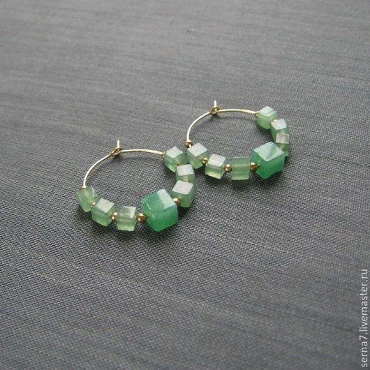"""Серьги ручной работы. Ярмарка Мастеров - ручная работа. Купить Серьги-кольца """"Colombian green"""". Handmade. Серьги с камнями"""