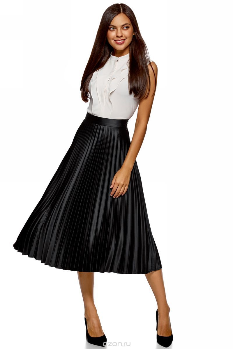 Skirt black satin pleated, Skirts, Moscow,  Фото №1