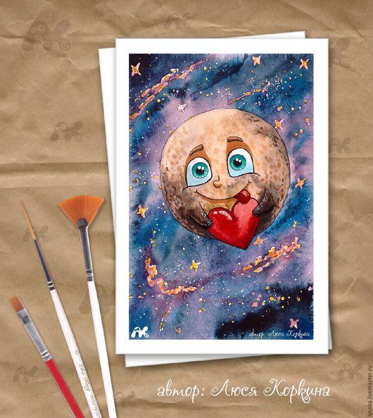 Открытки на все случаи жизни ручной работы. Ярмарка Мастеров - ручная работа. Купить Авторская открытка с Плутоном. Handmade. Комбинированный, валентинка