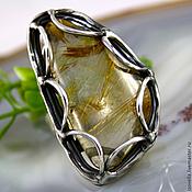 Украшения handmade. Livemaster - original item Ring Golden showers - quartz-hair stone, silver. Handmade.