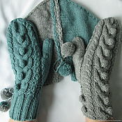 Аксессуары handmade. Livemaster - original item Mittens for lovers 2 2 1 Haze and gentle turquoise. Handmade.
