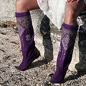 Обувь ручной работы handmade. Livemaster - original item Boots:Purple boots with an embroidered boot - Euro winter - Autumn - Etno. Handmade.