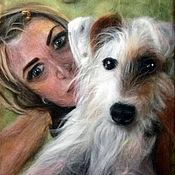 Картины и панно ручной работы. Ярмарка Мастеров - ручная работа Селфи с собачкой. Handmade.