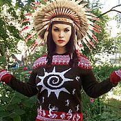 """Одежда ручной работы. Ярмарка Мастеров - ручная работа Свитер с капюшоном """"Индейские напевы"""". Handmade."""