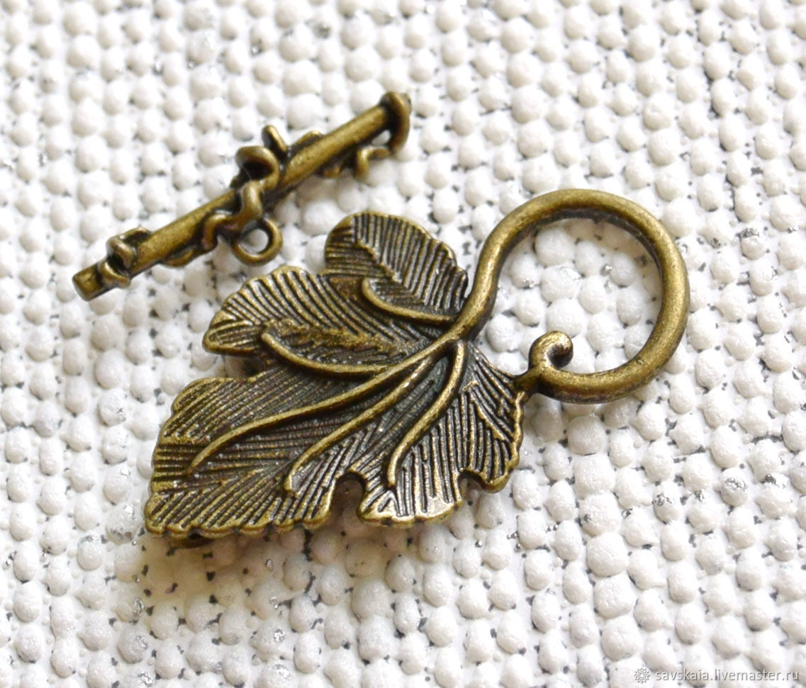Clasp togl for jewelry Leaf color antique bronze