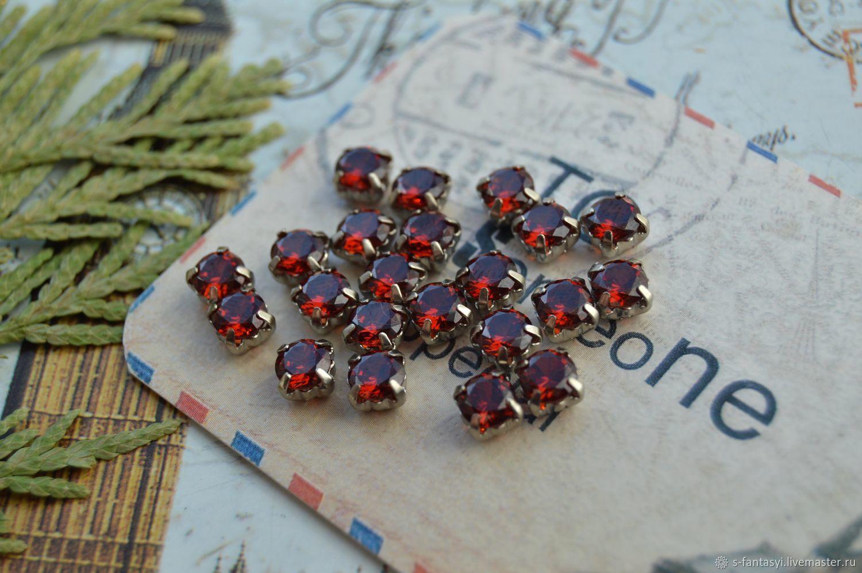 Bezel cubic zirconia 5 mm Ruby, Cabochons, Stavropol,  Фото №1