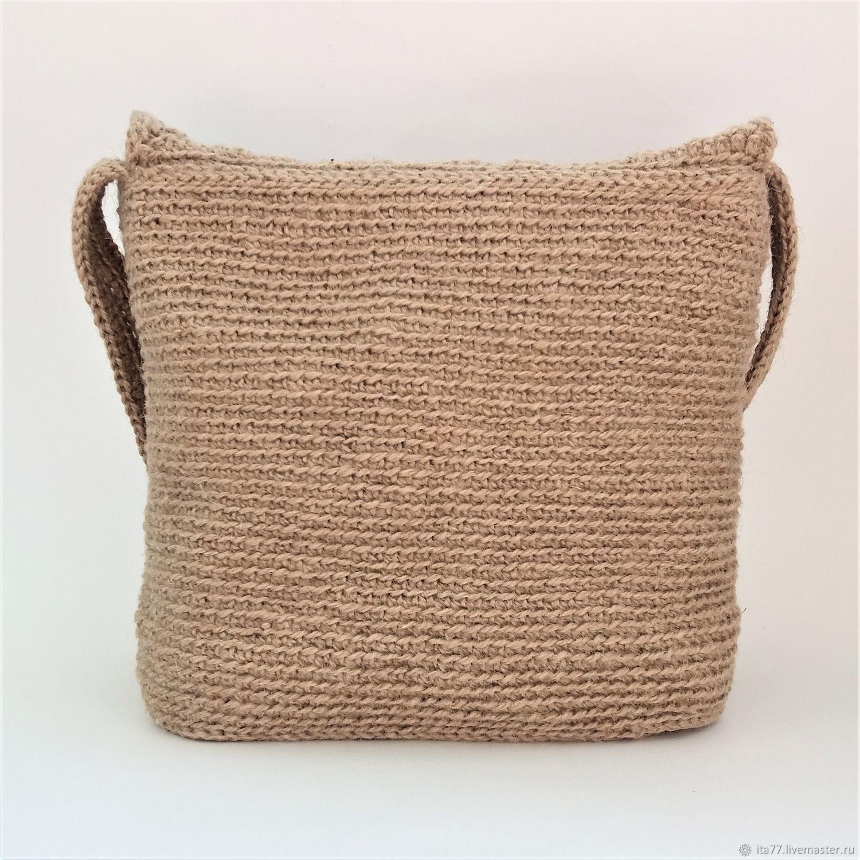 6df4f5f74832 Купить Сумка вязаная из джута Женские сумки ручной работы. Сумка вязаная из  джута С кисточкой №16.