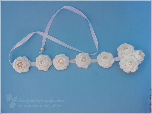 Цветы ручной работы. Ярмарка Мастеров - ручная работа. Купить Лента в косу с цветочками из фоамирана. Handmade. Белый, цветы из фоамирана
