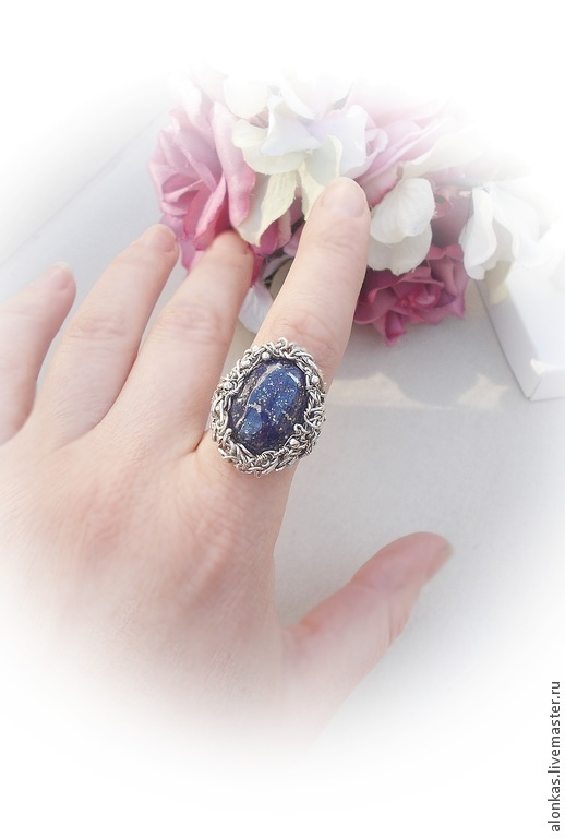 Кольца ручной работы. Ярмарка Мастеров - ручная работа. Купить Серебряное кольцо с лазуритом. Handmade. Тёмно-синий, серебряный, wire