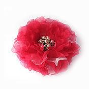"""Украшения ручной работы. Ярмарка Мастеров - ручная работа брошь-цветок """"малина с сахаром"""", красная брошь, брошь из ткани. Handmade."""