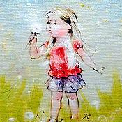 """Картины ручной работы. Ярмарка Мастеров - ручная работа Картина маслом """"Одуванчик"""".. Handmade."""