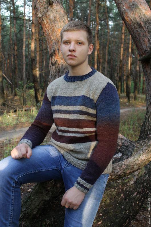 Для мужчин, ручной работы. Ярмарка Мастеров - ручная работа. Купить свитер мужской шерстяной Форвард. Handmade. Комбинированный, синий