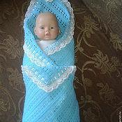Работы для детей, ручной работы. Ярмарка Мастеров - ручная работа Бирюзовый плед для новорожденного. Handmade.