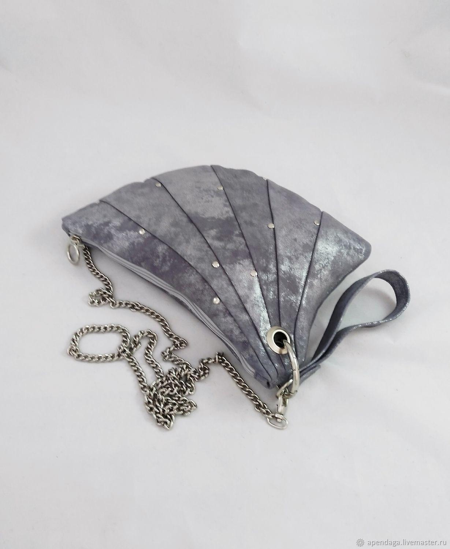 Bag leather silver-blue 'Fan', Classic Bag, Ulyanovsk,  Фото №1