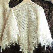 Аксессуары handmade. Livemaster - original item Shawl made of natural goat down white. Handmade.