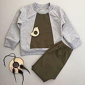 Работы для детей, ручной работы. Ярмарка Мастеров - ручная работа Комплект для мальчика (Свитшот и штанишки). Handmade.