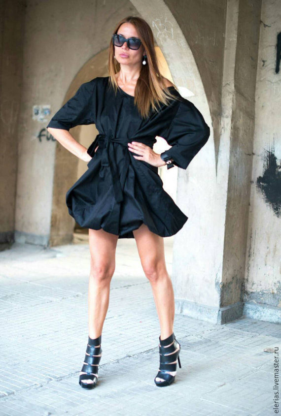 Dress, Black dress, Dress long sleeve, Short dress, tunic Dress. Tunic with belt, cotton Dress, EUG
