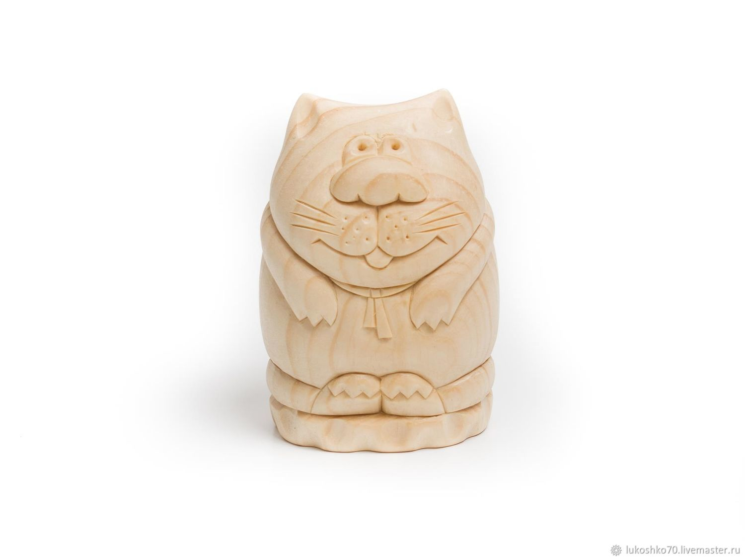 The statuette from cedar wood 'cat Boss'. Figurine carved from wood. Gift, Figurines, Tomsk,  Фото №1
