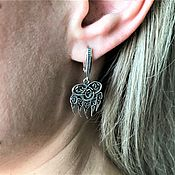 Русский стиль handmade. Livemaster - original item Velez print-earrings. Handmade.