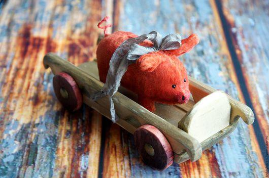 Мишки Тедди ручной работы. Ярмарка Мастеров - ручная работа. Купить Ретро свинка Хрюндель на деревянной тележке. Handmade. Рыжий