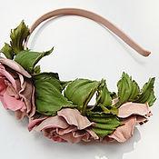 """Украшения ручной работы. Ярмарка Мастеров - ручная работа роза,ободок из кожи """"Чайные розы"""" украшения, роза из кожи. Handmade."""