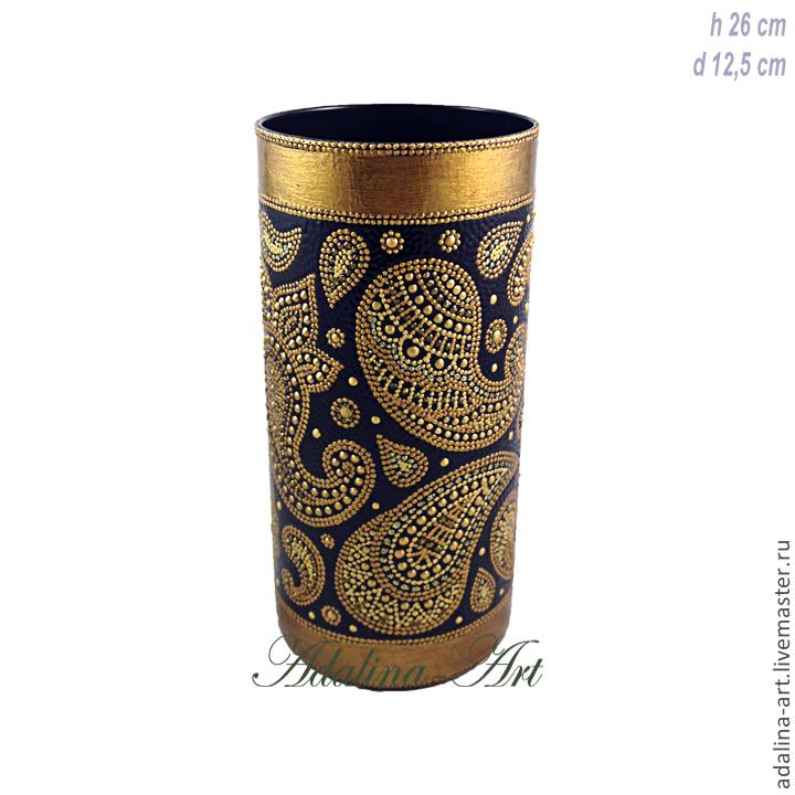 Ваза ЗОЛОТОЙ ПЕЙСЛИ ваза для цветов Точечная роспись