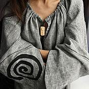 Одежда handmade. Livemaster - original item Graphite. Ethnic Linen tunic Dress hand-made melange native midi dress. Handmade.