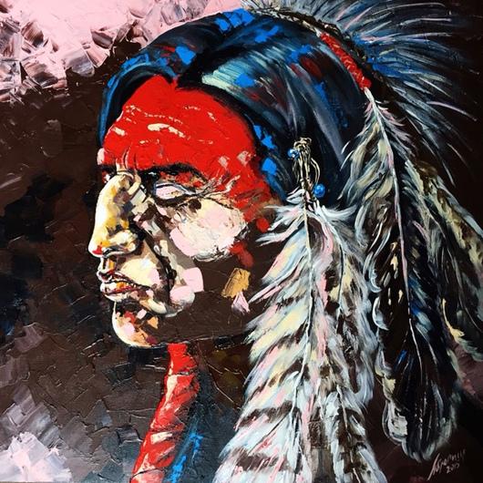 Портрет вождя племени.Работа в сдержанной  гамме,спокойный и уровновешенный профиль мужчины