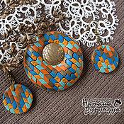Украшения ручной работы. Ярмарка Мастеров - ручная работа комплект Осенняя мозаика брошь и серьги. Handmade.
