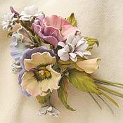 Украшения handmade. Livemaster - original item Jewelry made of leather.Brooch flower pin Pansy -2. Handmade.